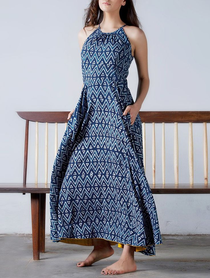 Buy Indigo Yellow Button Detailed Natural Dyed Block Printed Flare Maxi Dress Cotton Online at Jaypore.com