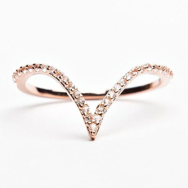 V Ring (8335 ALL) ❤ liked on Polyvore featuring jewelry and rings