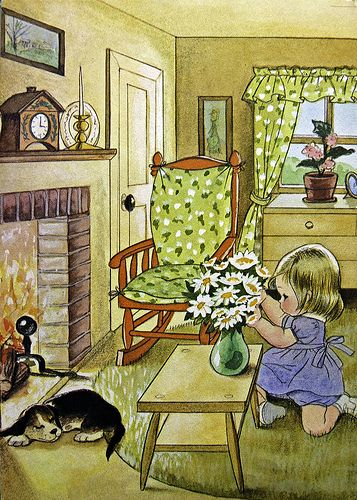 "from a 1966 children's book, ""I'm Suzy"". Illustrations by Alice Schlesinger."