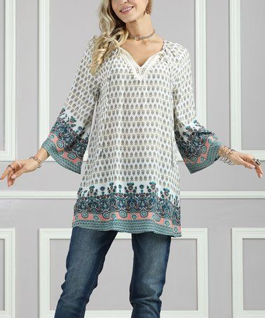 de593e42 Love this Cream Floral Wide-Sleeve Tunic - Women & Plus by Suzanne Betro on  #zulily! #zulilyfinds