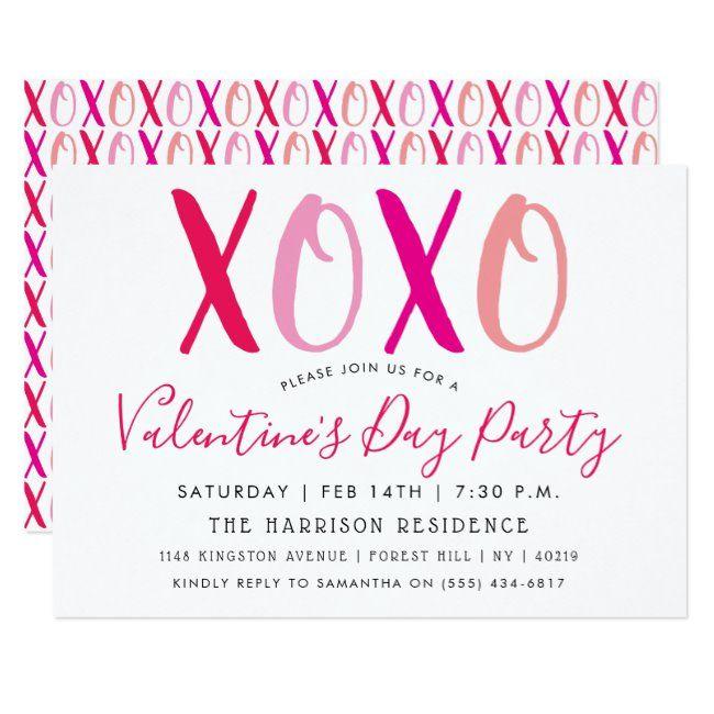 Modern Hugs Kisses Xoxo Valentine S Day Party Invitation Zazzle Com In 2020 Valentines Day Party Xoxo Valentine Valentines Party