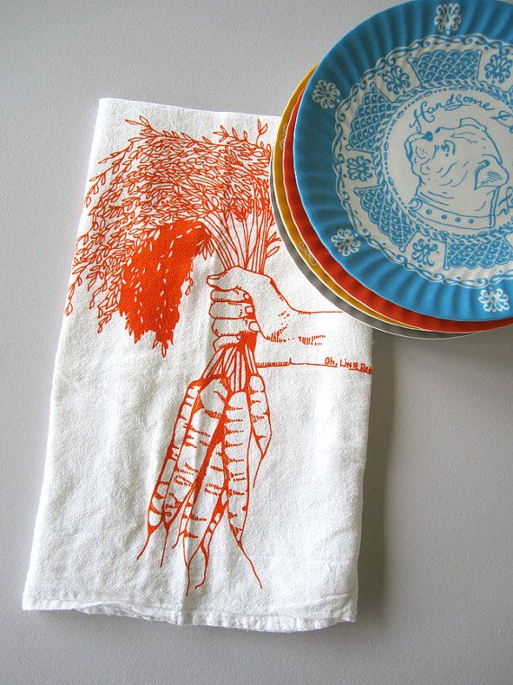 Screen Printed Organic Cotton Flour Sack Towel  by ohlittlerabbit, $8.00
