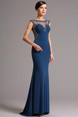 Azul Vestido de Graduación Largo Elastico Sin Manga (36161005)