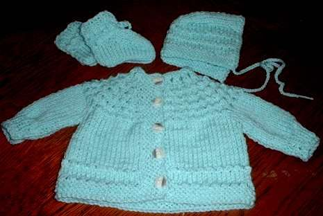"""5-hour baby sweater""...really knits up fast, although I can't promise 5 hours!"