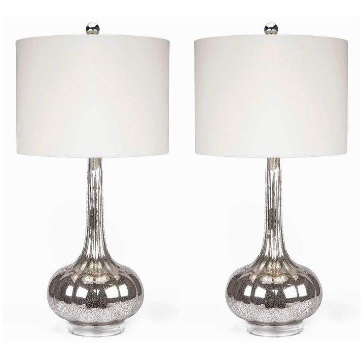 Abbyson living michelle antique glass table lamp set of silver image 1 of