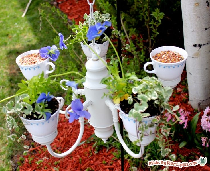 Tea Party Planter: Combo planter & bird feeder made from chandelier & tea cups. Learn to drill tea cups too. Video!