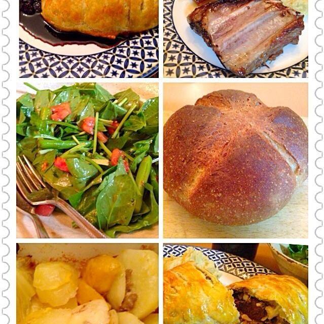 鹿肉を家で食べれるなんて! - 9件のもぐもぐ - 鹿肉パイ包み焼き、手作りパン、イベリコ豚ロースト、フォアグラとキャベツ、ジャガイモソテー。ダーリン作。 by kaosaku