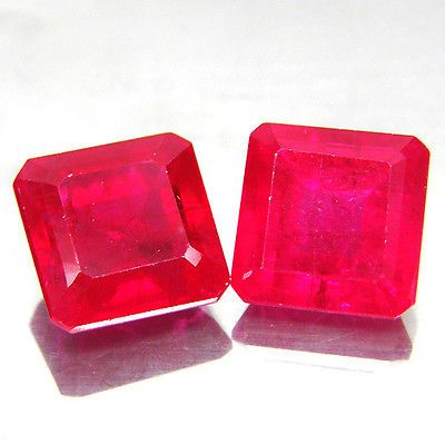 18-50-ct-Pair-Fabulous-Emerald-Facet-AAA-Red-Ruby