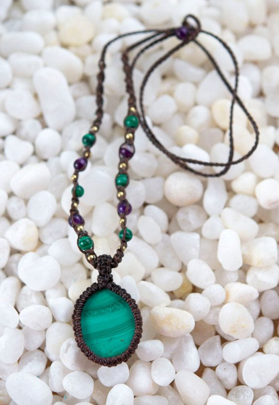 Malachite macrame necklace by AmberSkyeboho on Etsy
