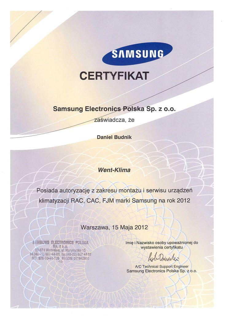 Certyfikat ze szkolenia, Samsung seria klimatyzatorów Split i MultiSplit