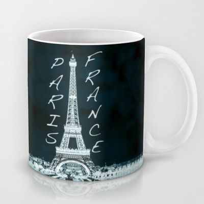 La Tour Eiffel - The Eiffel tower inverse with text Mug by Bruce Stanfield - $15.00