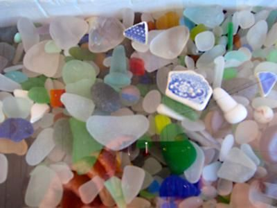 Sea glass at Souris East Lighthouse, in PEI: By: Lisa Cancade Hackett - North Bay, Ontario, Canada Where was this photo taken? At the Souris East lighthouse Sea Glass museum displayin Souris, Prince