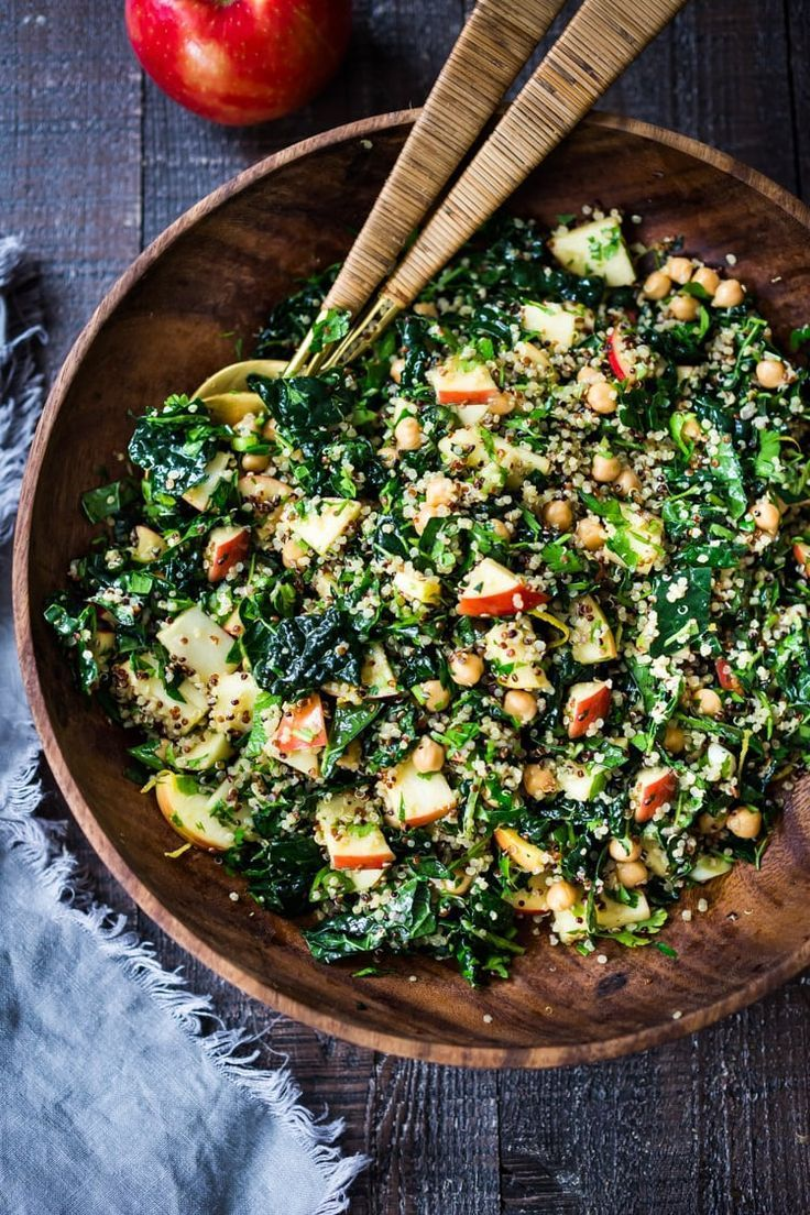Kale Quinoa Salad with Apples and Chickpeas