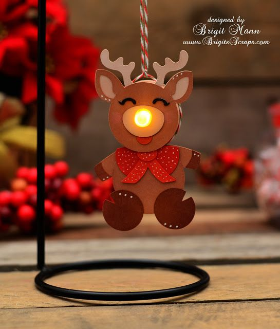"Brigit's Scraps ""Where Scraps Become Treasures"": Rudolph With your Nose So Bright! Made with tealight"