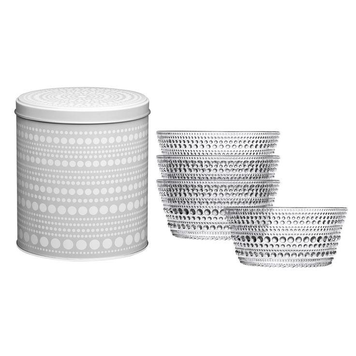 Kastehelmi ciotole set da 4 in latta confezione regalo  http://www.aitonordic.it/collections/protti-per-cucina-e-per-tavolo/products/kastehelmi-coppa-trasparente-23cl-set-regalo-iittala