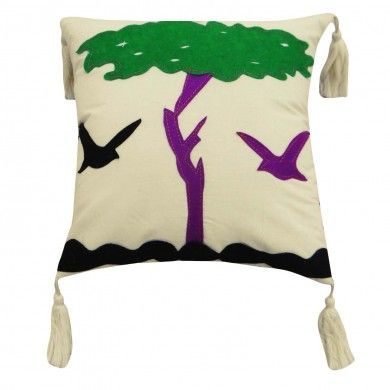 White Cotton Cushion Cover Bird Tree Patchwork Designer 30 Cm Pillow Case 12""