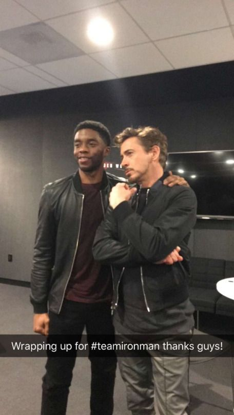 "Chadwick Boseman (Black Panther) and Robert Downey Jr. (Iron Man) at the Buzzfeed ""Captain America: Civil War"" online Q&A, March 10, 2016."
