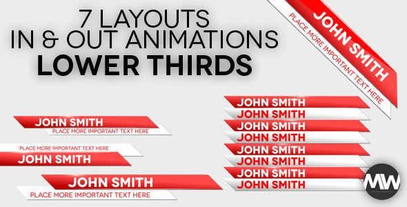 Impact Lower Thirds  This project can be used as animated lower thirds, for revealing names and important credentials in your video presentations.  It features 7 different layouts in/out animated reveals for each.  The project is easily customizable and simple to edit, with a couple of text placeholders for you to modify according to your need and liking and a scripted color effect to change color across the project.