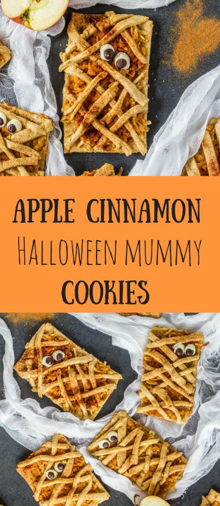 Simple and cute Halloween Mummy cookies with cinnamon and apple filling