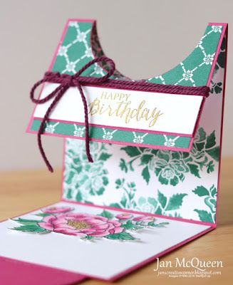 Fancy Fold card featuring Stampin Up's Birthday Blooms and Rose Wonder by Jan McQueen. More info @ www.janscreativecorner.blogspot.com