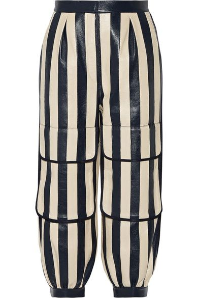 Fendi - Cropped Striped Leather Tapered Pants - Storm blue - IT