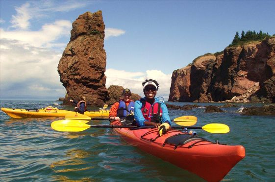 Navigate your kayak by the famous Three Sisters sea stack formation on a guided tour hosted by NovaShores Adventures. An incredible way to get up close with the natural beauty of the Fundy Shore and Annapolis Valley region.