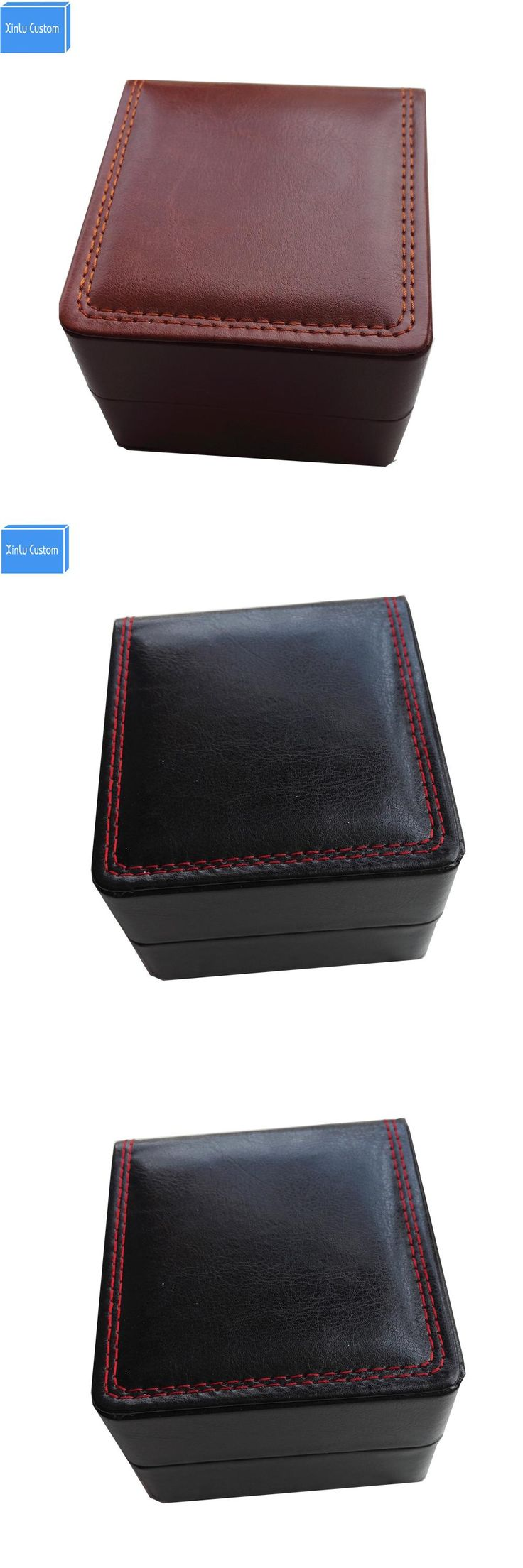 Quality cheap wholesale CUSTOM LOGO BOX black/brown/red leather sewing inner velvet pillow jewelry leather watch box storage