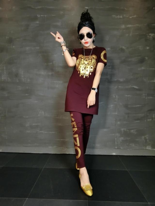 2016 nouvelles femmes de mode casual costume grands chantiers Plus La taille d'été à manches courtes longue section deux-pièces ensembles femmes vêtements 55