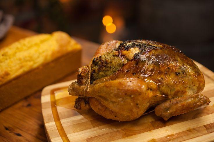 Mum's Roasted Chicken with Cornbread: http://gustotv.com/recipes/lunch/mums-roasted-chicken-cornbread/