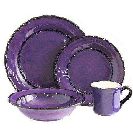 Country French Collection Purple Hand-painted 16-piece dinner set