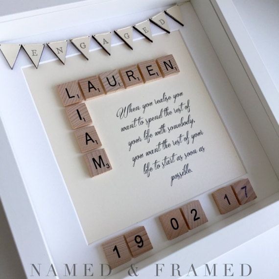 Personalised engagement gift wedding gift scrabble frame