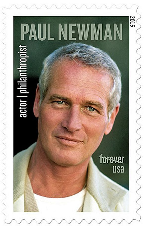 The U.S. Postal service begins selling the Paul Newman stamp on Friday, Sept. 18, 2015. [Photo: U.S. Postal Service. Photo By Steve Schapiro]