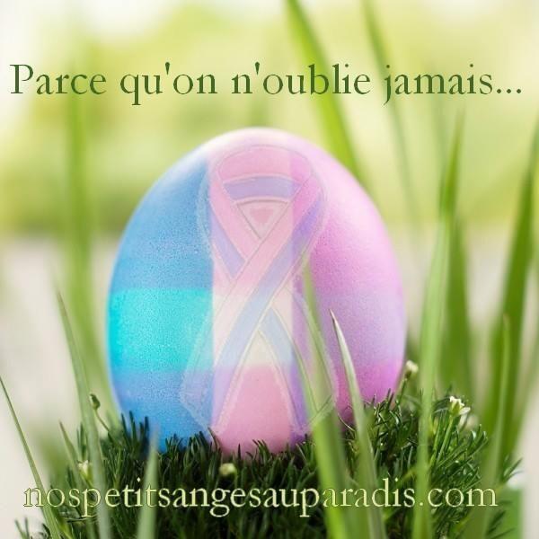 Parce qu'on n'oublie jamais...   Deuil périnatal   Oeuf de Pâques   Ruban rose et bleu