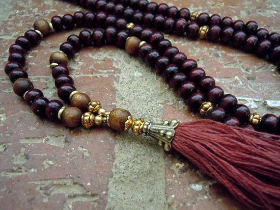 Yoga Necklace / Tassel Necklace / Mala Necklace / by Syrena56, $37.00