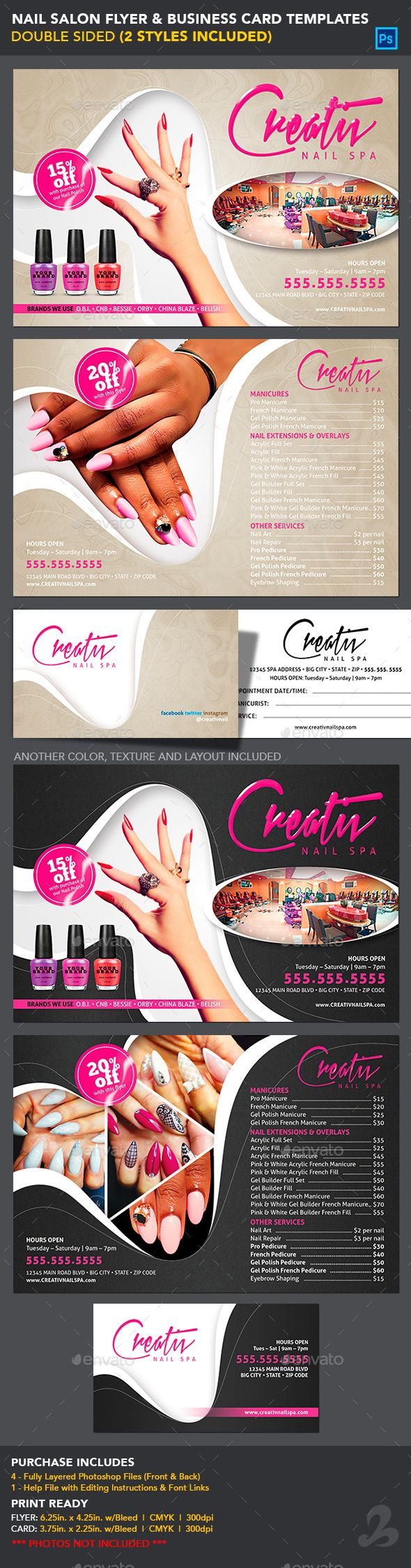 Use this flyer for any promotional, marketing, salon, spa, nail polish, artistic or cosmetic services. FULLY EDITABLE: Easily change colors, text, fonts and design elements to suit your needs.  PURCHASE INCLUDES:   4 PRINT READY Fully Layered PHOTOSHOP FILES
