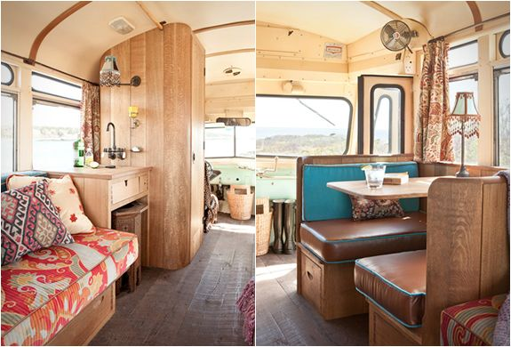 An old-school bus converted into a camper. Restored to perfection by Winkleman Architecture for a client, the 1959 Chevrolet Viking short bus can safely carry 12 passengers, converting to guest quarters for two with two single beds, or joined in the center as a queen bed.