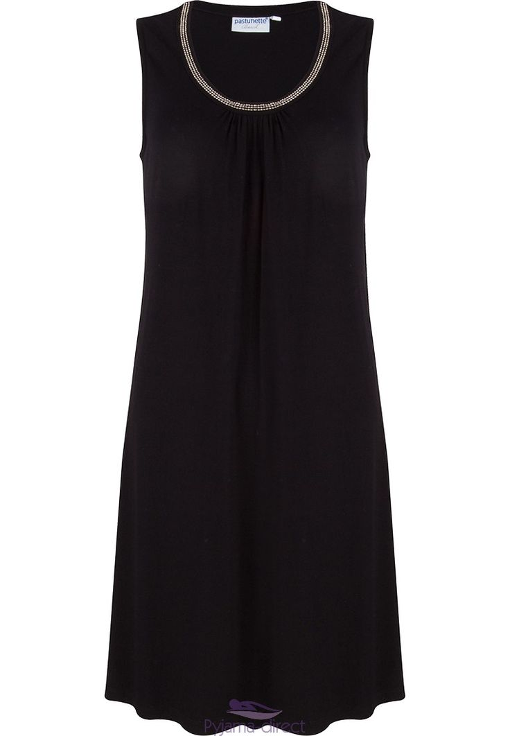 Pastunette Beach black sleeveless dress with simple pretty bead detailing around neckline