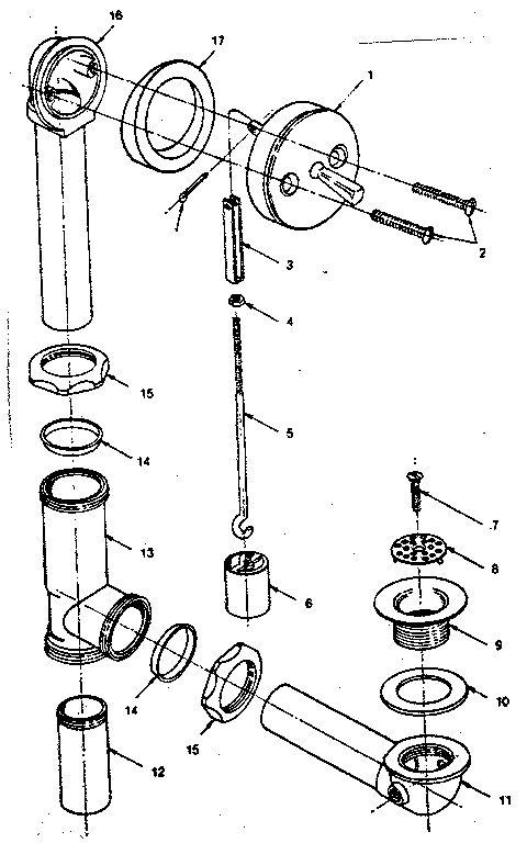 bathtub drain repair diagram
