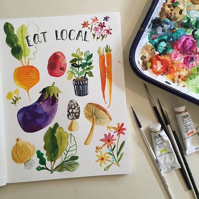 First farmers market of the season was open today, I'm glad I made it before the downpour! #watercolor #30minutesketch  #sketchbook #paintingaday #sketchaday #365daysofpaint @irvingtonfarmersmarket
