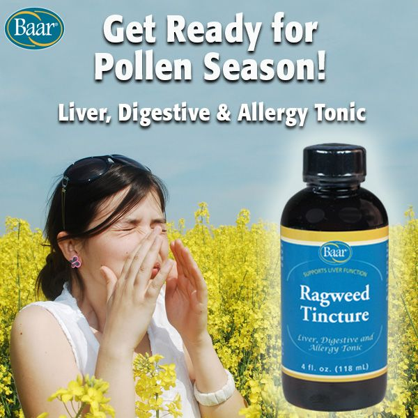 Combat seasonal allergies with Ragweed Tincture! Ragweed Tincture is effective in supporting the body's allergy response by relieving symptoms of sneezing, running nose and scratchy throat due to pollen. #allergyseason https://www.baar.com/ragweed-tincture