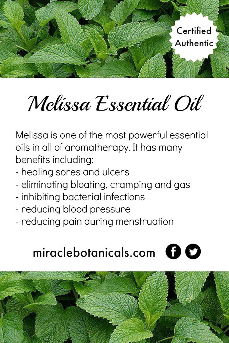 Melissa essential oil is one of the most powerful essential oils in aromatherapy. Some of its many benefits include healing sores and ulcers, eliminating bloating, cramping and gas, reducing blood pressure and reducing pain during menstruation.