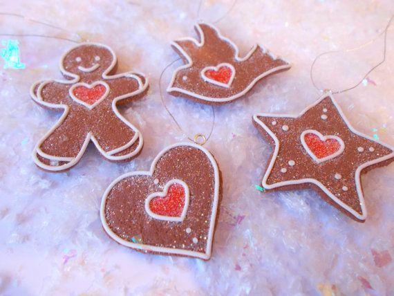 Set of 4 Handmade Clay Gingerbread Cookies by DesignsByDenisa