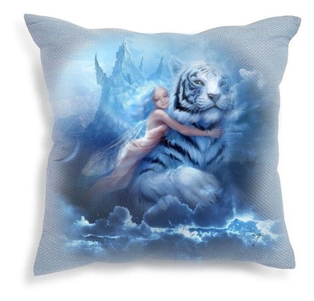 Decorate on a Pillow: Fly Away by craftygeminicreation on Polyvore featuring polyvore art fantasy expression pillow tiger
