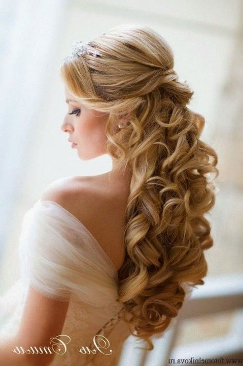 Half Up Half Down Wedding Hairstyles With Tiara And Veil With Veil