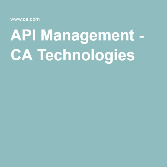 API Management - CA Technologies
