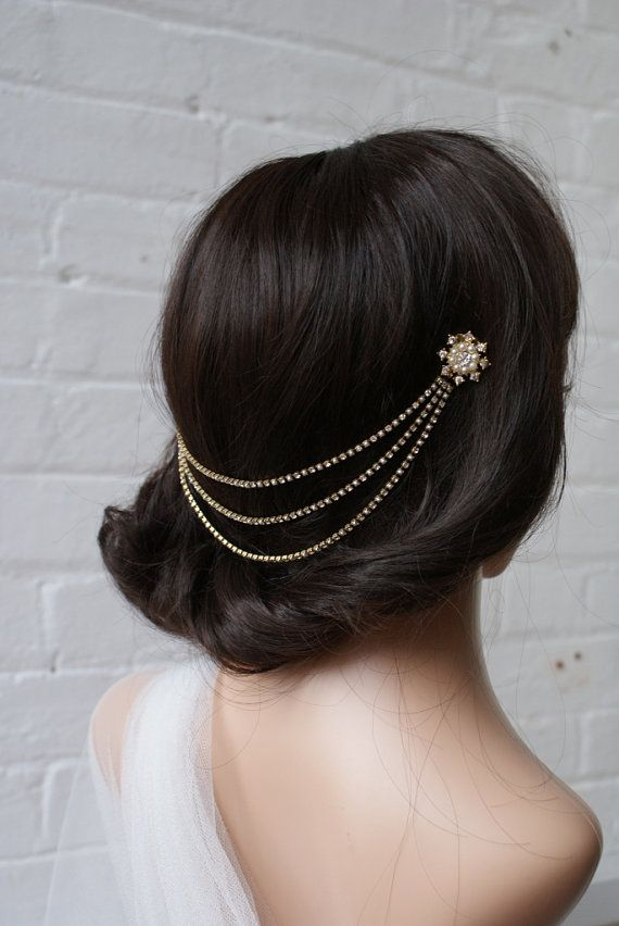 1920s Head Chain in Gold-tone -  Wedding Hair Accessory- Hair Jewellery -  Rose Red Rose White