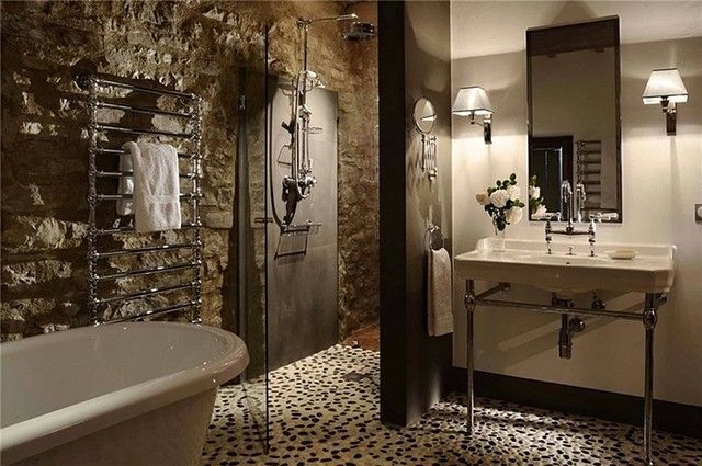 541 best bathroom pebble tile and stone tile ideas images for Interior decoration using pebbles