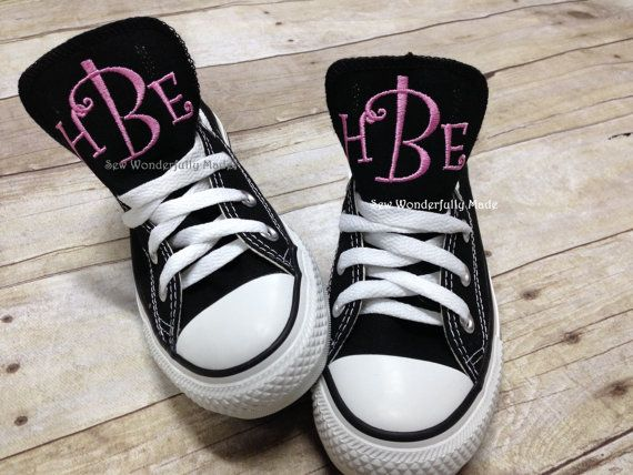 Monogrammed Converse, Monogrammed Chucks, Monogrammed Chuck Taylors, Personalized Shoes, Low Top Converse, Women's Converse by sewwonderfullymade4u. Explore more products on http://sewwonderfullymade4u.etsy.com