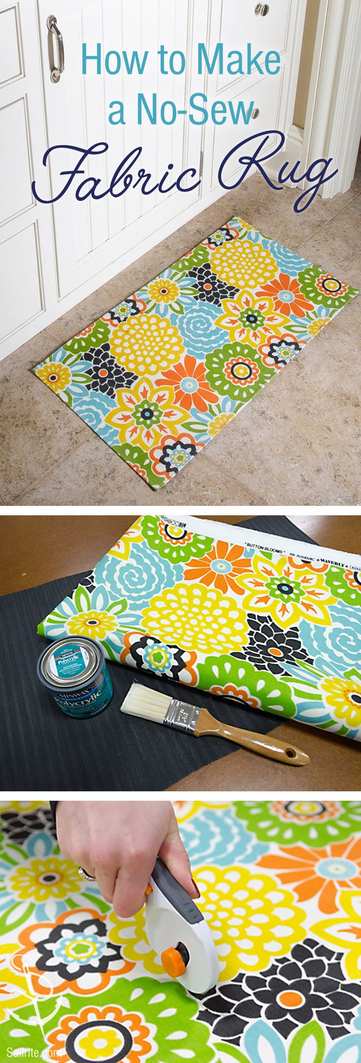 Add color to your home with this no-sew project. DIY a doormat or bathroom or kitchen rug using fabric.