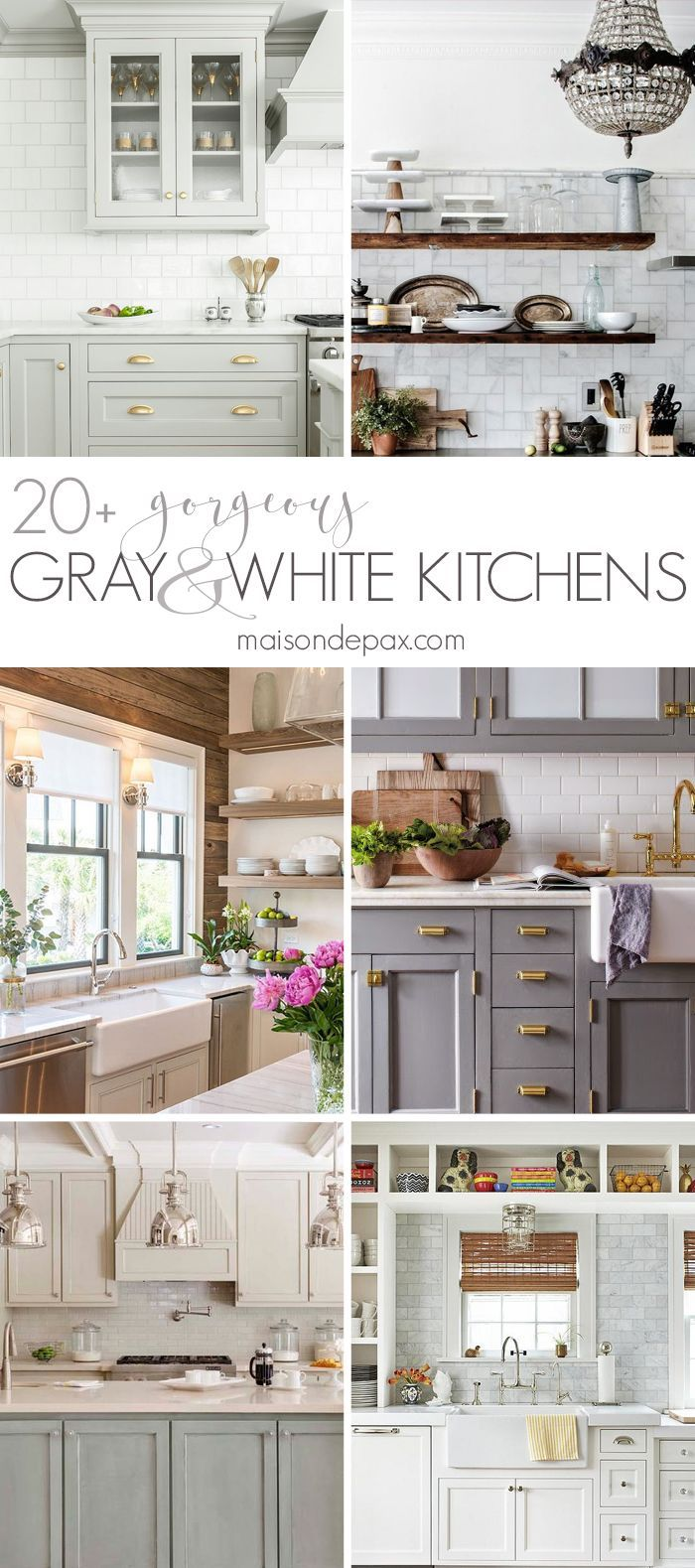 So many stunning gray and white kitchens! Including marble countertops and backsplashes, subway tiles, open shelving, farmhouse sinks, two tone cabinets, and more. Kitchen design inspiration   maisondepax.com